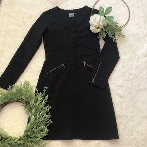 Athleta Black Long Sleeve Zipper Dress